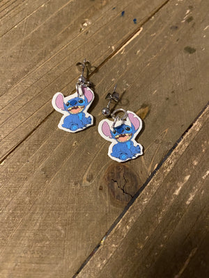 Stitch charm Ball Post Earring