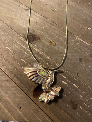 Humming Pendant on a gold chain Necklace