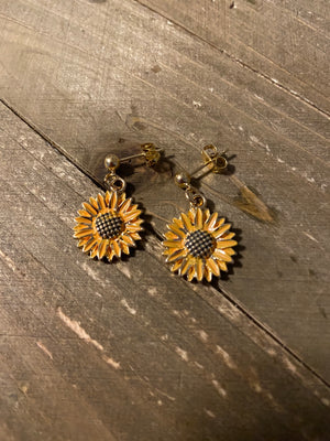 Distressed Sunflower charm Ball Post Earring