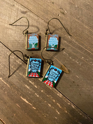 Alice in Wonderland Book Wire  Earrings (2 books to choose)
