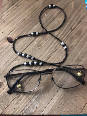 Charming and Unique black and white  beaded eyeglass holder