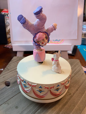 Vintage Ceramic Clown Music Box With Clown balancing on a Ball as a bunny watches him