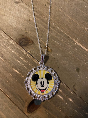 Mickey Mouse Pendant on a Silver chain Necklace