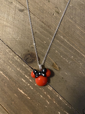 Dainty Silver chain with Minnie Mouse Ears Necklace