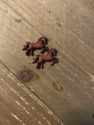Dark Brown Horse Post Earrings