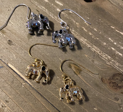 Elephant Charm Wire Earrings (gold or silver)