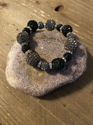 Black & Gray Rhinestone Ball Beaded Elastic/Stretch Bracelet