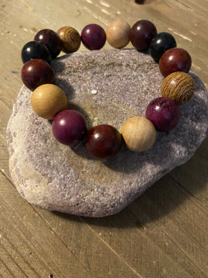 Round Wooden Beaded Elastic/Stretch Bracelet