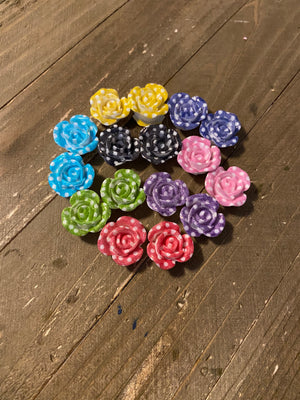 Polka Dot Rose Post Earrings (8 colors to choose from)
