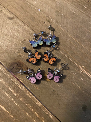 Butterfly charm Ball Post Earring (3 colors to choose)