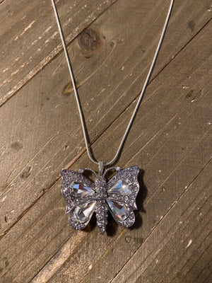Rhinestone Butterfly Pendant on a Silver Chain Necklace
