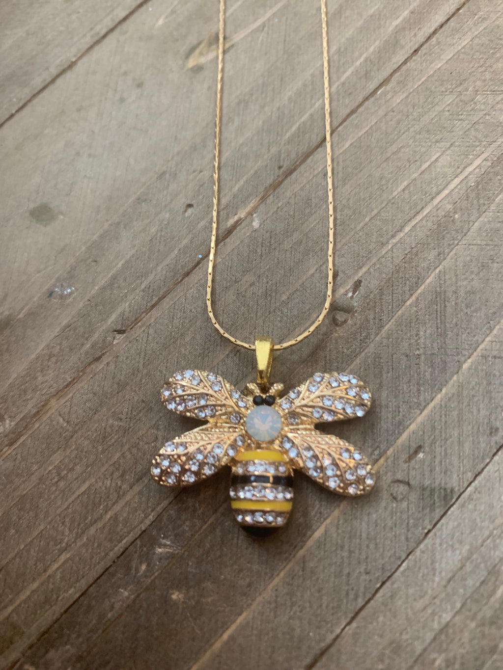Dainty Gold chain necklace a charming bumblebee pendant