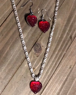 Pretty HEART Earrings and Necklace Set, Rhinestone Heart Shank,  Silver Chain, Valentine's Gift