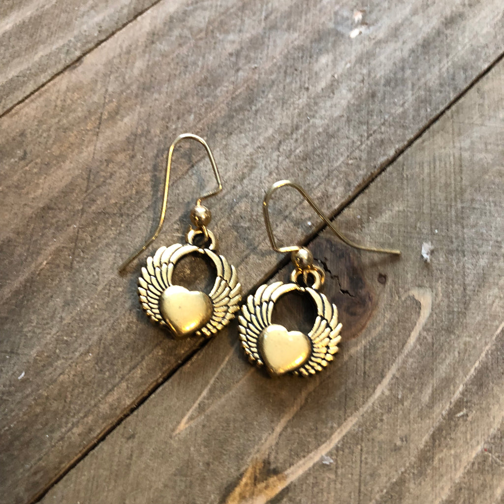 Gold Heart and Wing Charm dangle earrings