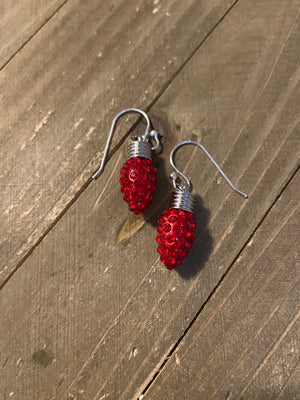 Red Rhinestone Christmas light Wire Earrings