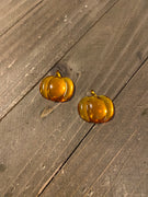 Pumpkin Gemstone Post Earrings-Perfect for Fall Ear Bling