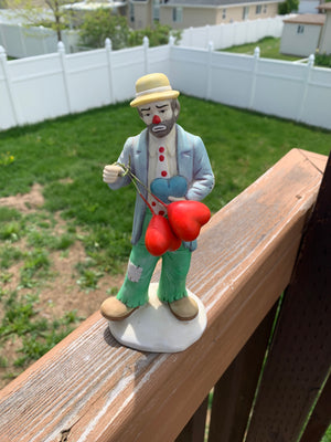 Clown--Emmett Kelly Jr. Collection--with 2 heart balloons
