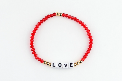 LOVE Bracelet-alphabet message gold plated brass Beads and Red Crystal Beads