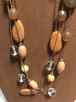 Pretty multi strand dainty chain with wooden and glass beads