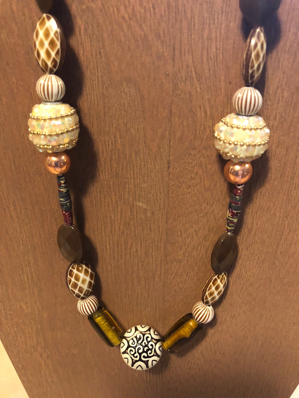 Beautiful brown beads different shapes necklace