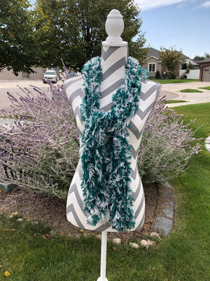 "Warm and Pretty Green and White ""furry"" Knitted Scarf"
