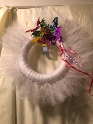 White tulle wreath with Butterflies