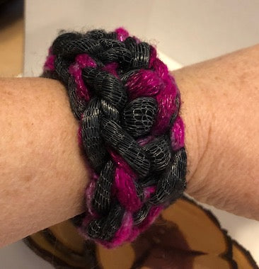 Black and PurpleYarn Bracelet