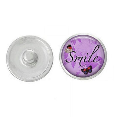 Inspirational - Snap Jewelry - Smile Inspiratonal Snap - Compatible with Studio66 LLC -  Ginger Snaps - Noosa 18-20mm Base - Handpressed Snaps