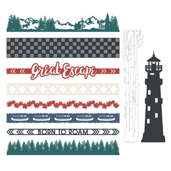 Creative Memories Great Escape Laser Cut Border Embellishments (10/pk)