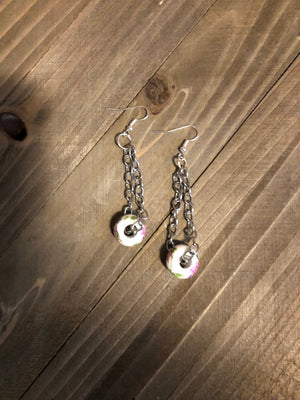Silver chain  earrings with flower bead