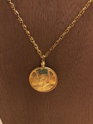 Unique gold chain necklace with Gold half dollar pendant