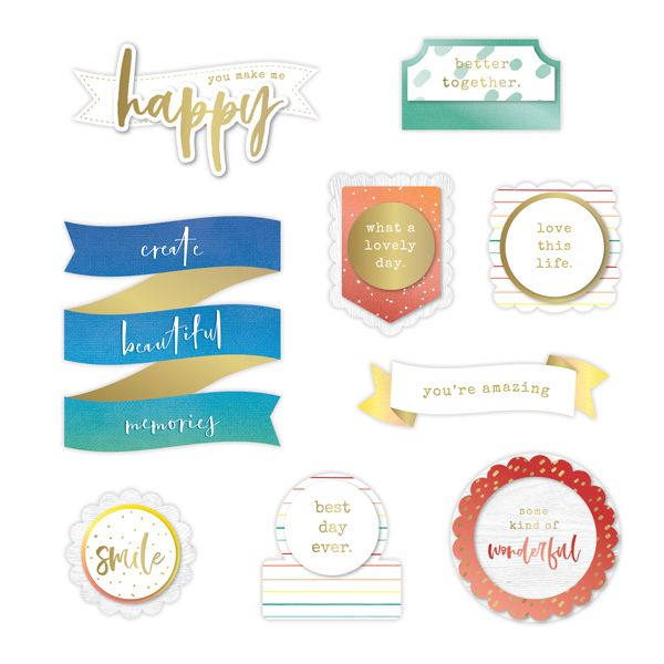 CREATIVE MEMORIES Rainbow Rush Layered title Embellishments
