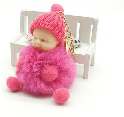 Rose Sleeping Baby Doll Key Chain