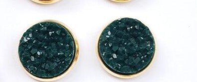 Pine Druzy Stud Earrings