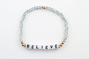 BELIEVE Bracelet-alphabet message gold plated brass Crystal Beads