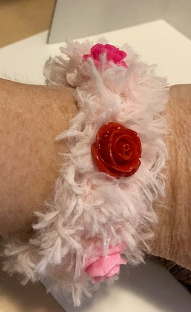 Pink furry Yarn Bracelet with roses