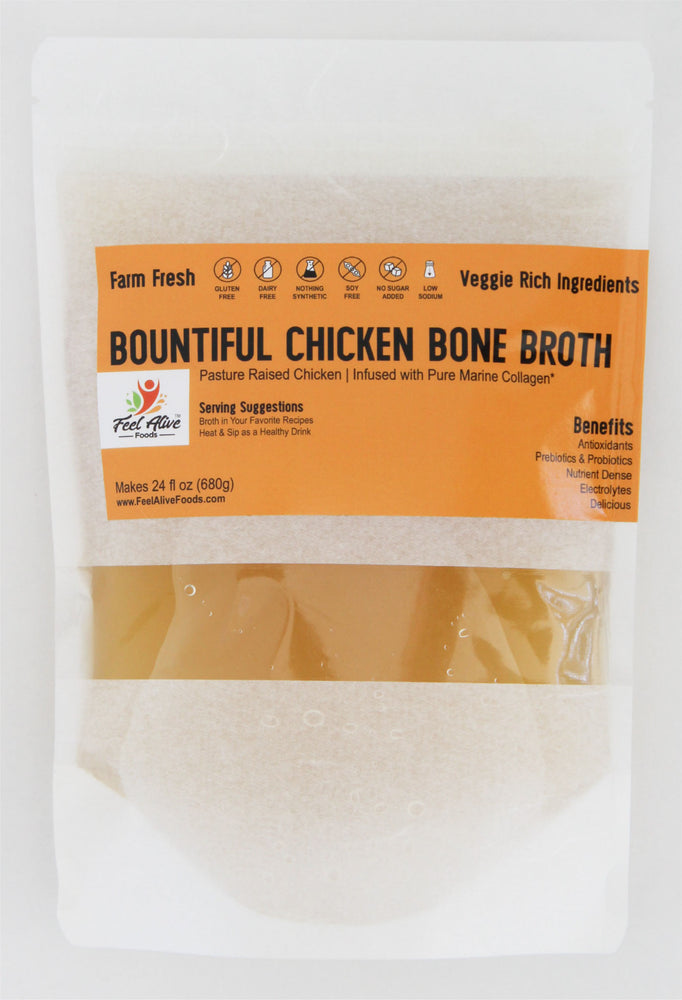 Feel Alive Foods AIP, DASH, Mediterranean and Paleo Bountiful Chicken Bone Broth for people living with Autoimmune, Diabetes or Heart Health issues