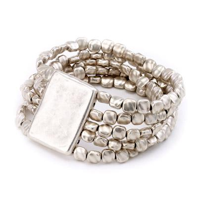 Vintage turkish collection zinc alloy silver plated  Multi strand elastic nugget bead bracelet.