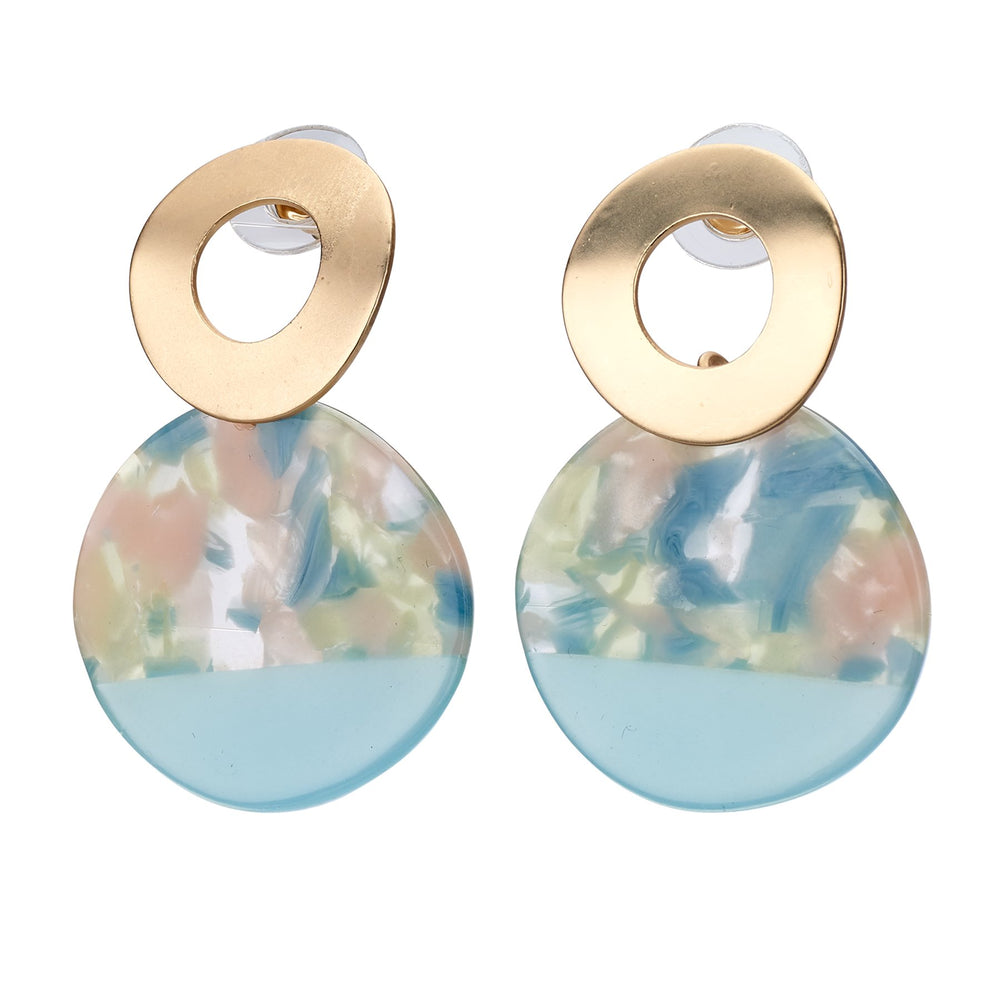 Acrylic gold stud earring with watercolor on disk