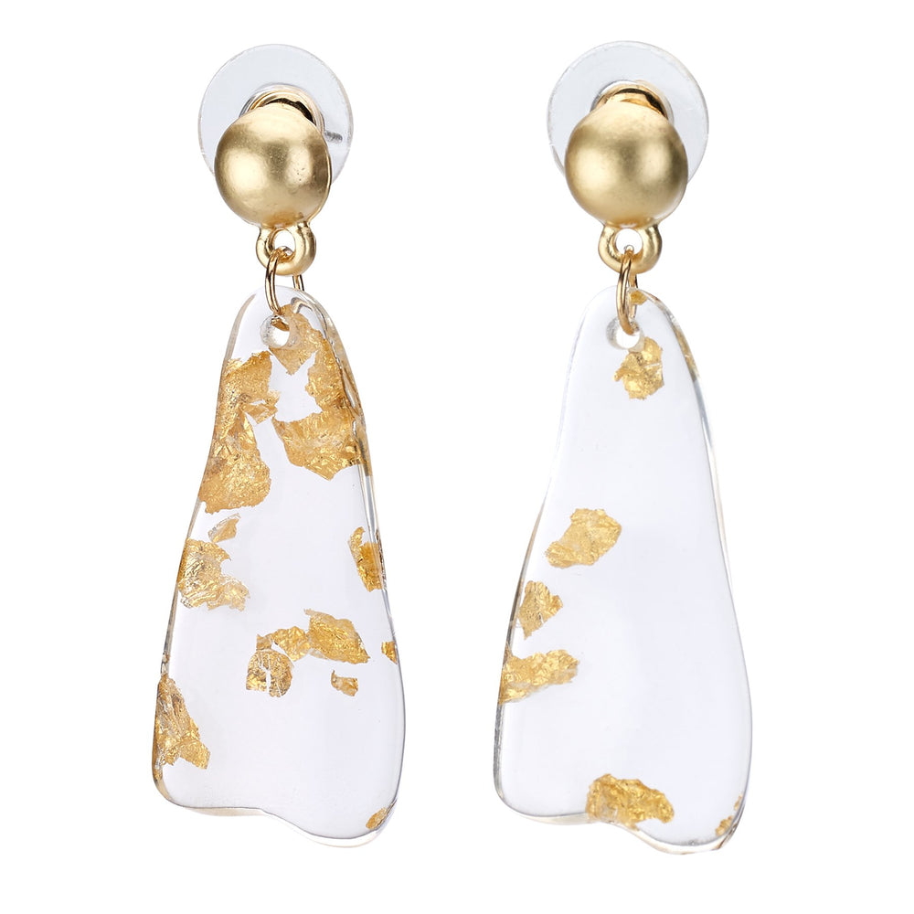 Acrylic earring gold flake drop stud