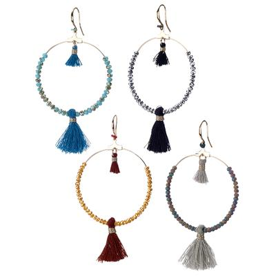 Beaded hoop earring with double tassel