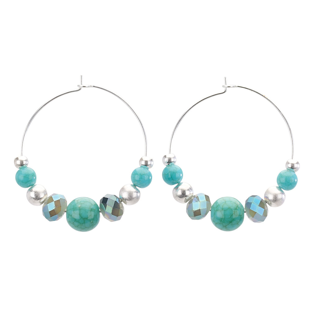 Thin Beaded Hoop Earring - Final Sale