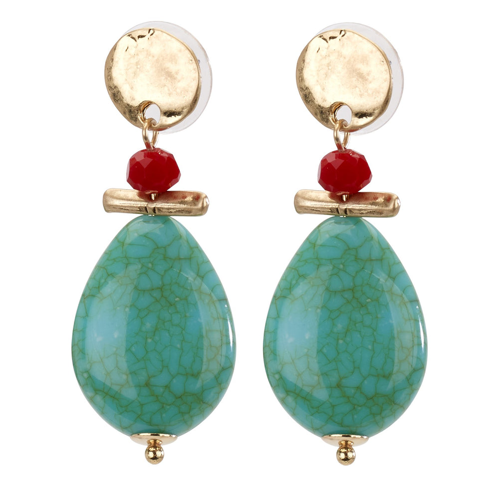Gold/Turquoise Drop Earring - Final Sale
