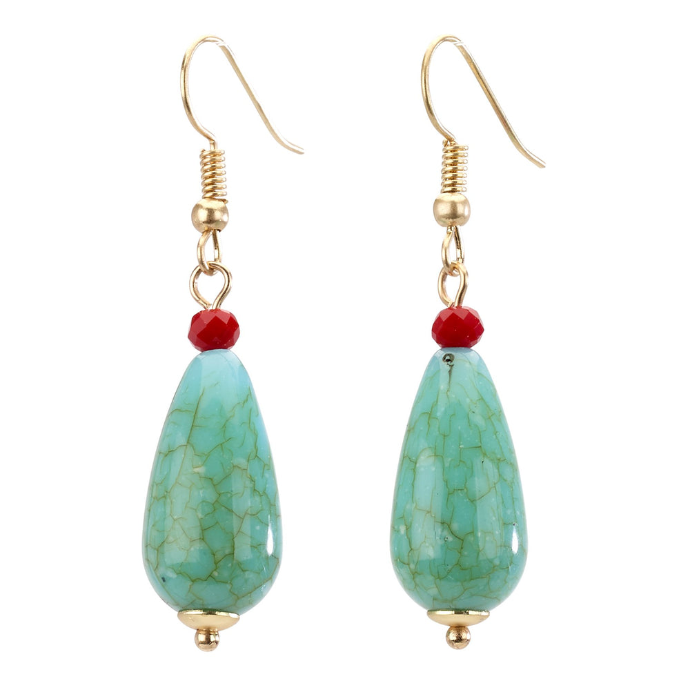 turquoise Simple drop earring with turquoise stone