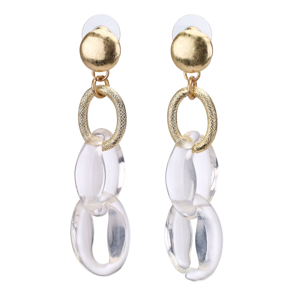 Drop earring with clear oval links