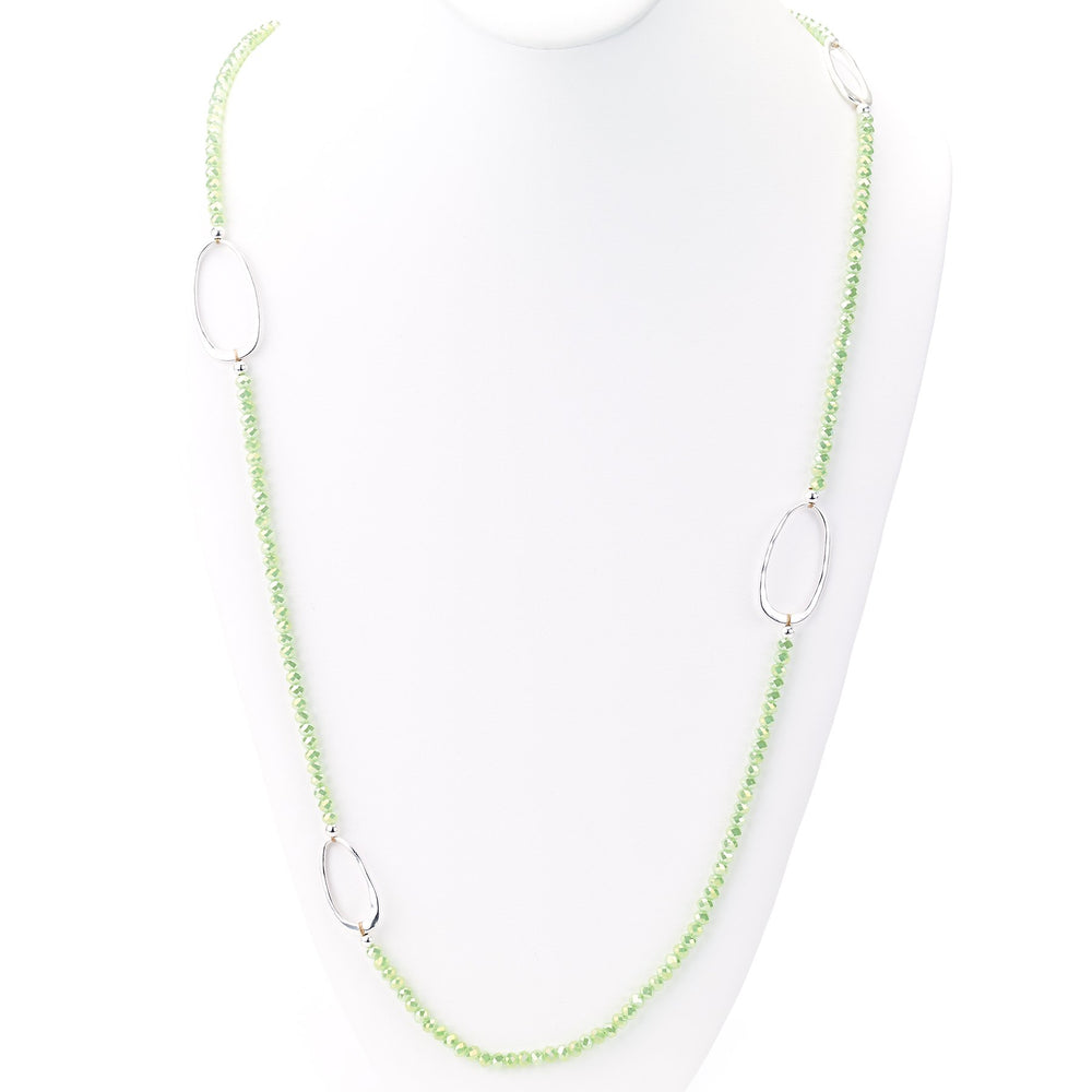 Faceted crystals and oval stations single chain necklace green silver