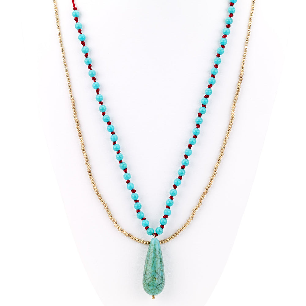 Agate Stone Double Strand Necklace - Final Sale
