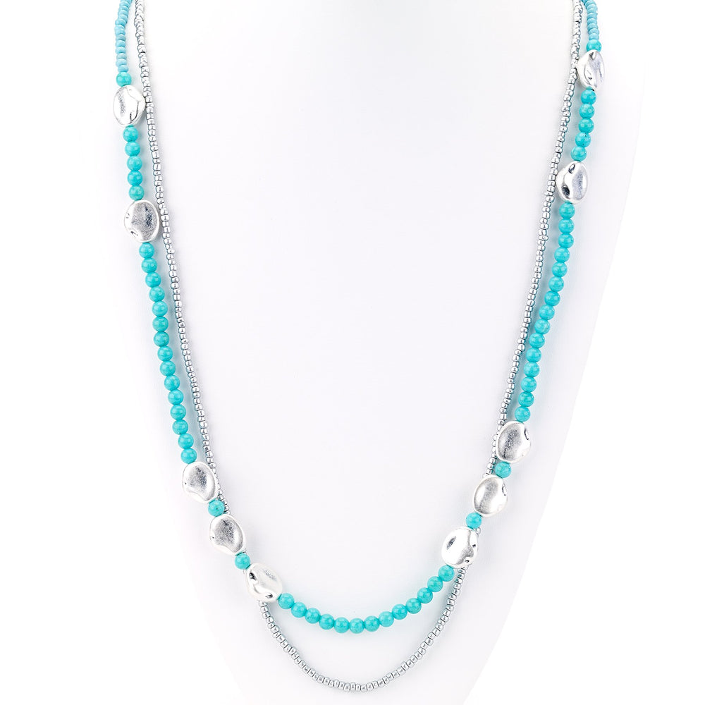 Turquoise/Silver Double Strand Necklace - Final Sale