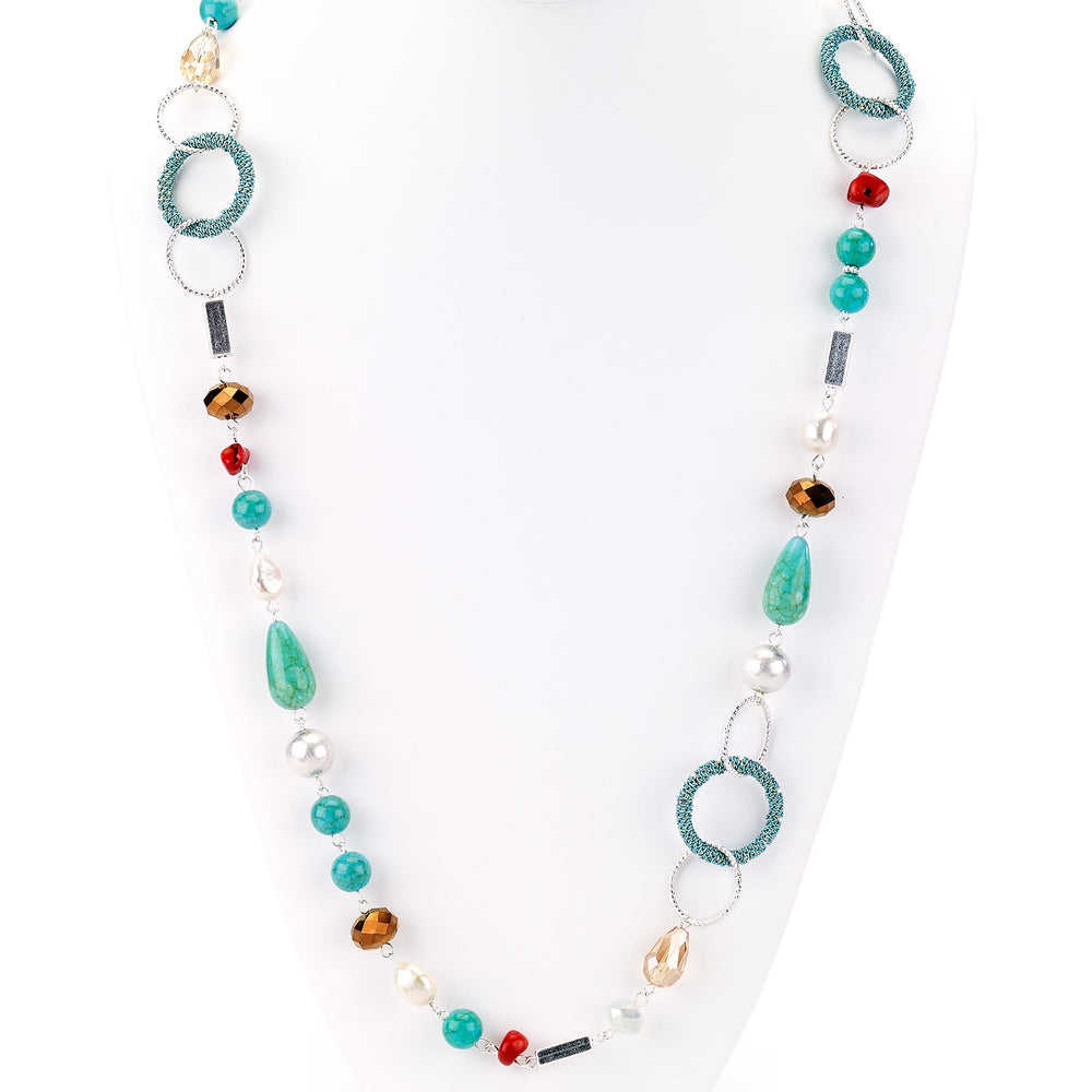Agate, Beads and Links Single Strand Necklace - Final Sale