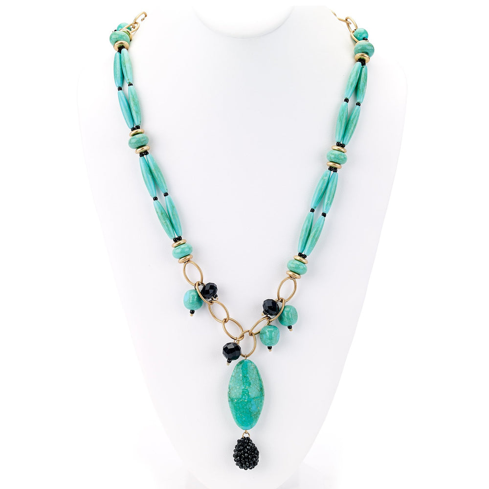 Turquoise Stone Pendant Necklace - Final Sale